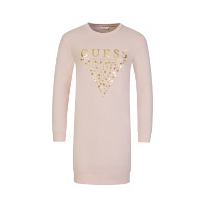 Kids Pink Logo Sweatshirt Dress