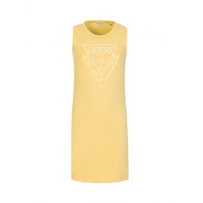 Kids Yellow Sleeveless Core Logo Dress