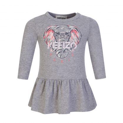 Grey Elephant-Print Baby Dress