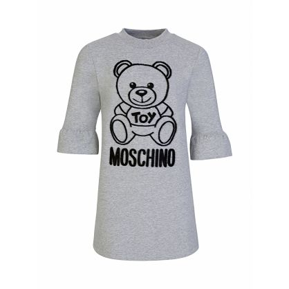 Grey Frill Sleeve Bear Logo Dress