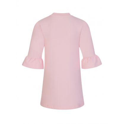 Kids Pink Frill Sleeve Bear Logo Dress
