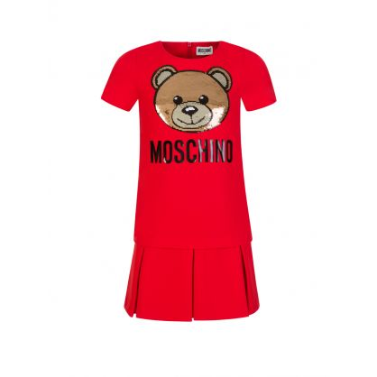 Kids Red Sequin Teddy Bear Dress