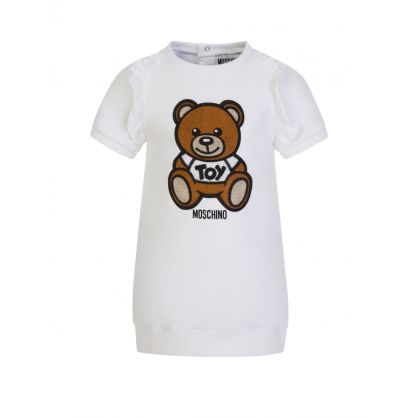Kids White Embroidered Bear Baby Dress