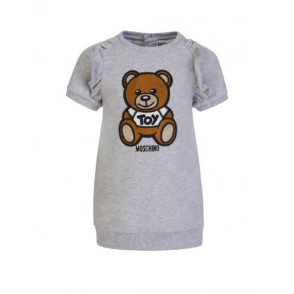 Kids Grey Embroidered Bear Baby Dress
