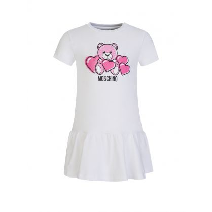 Kids White Baby Bear Logo Dress