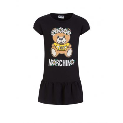 Kids Black Daisy Bear Dress