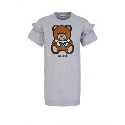 Kids Grey Embroidered Bear Dress