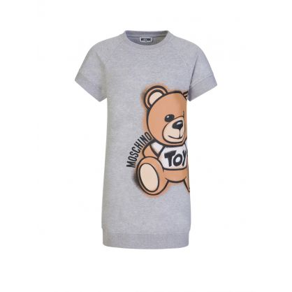 Kids Grey Maxi Bear Logo Dress