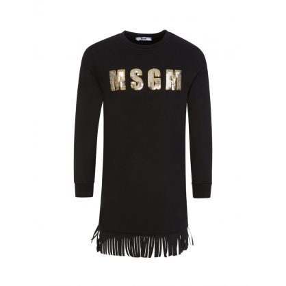 Kids Black Bling Sweatshirt Dress