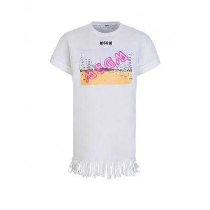 Kids White Beach Graphic Logo T-Shirt Dress