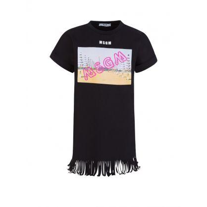 Kids Black Beach Graphic Logo T-Shirt Dress