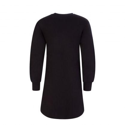 Kids Black Velvet Logo Sweater Dress