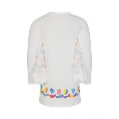 White Butterfly Winged Sweatshirt Dress