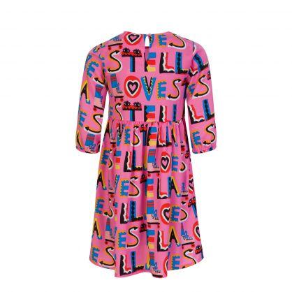 Pink Stella Loves Viscose Logo Dress
