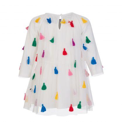 White Tulle Tassel Dress Set