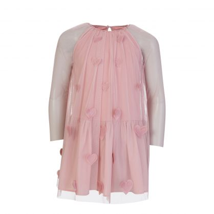 Pink 3D Hearts Tulle Dress