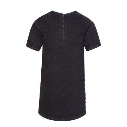 Black Logo Denim Dress