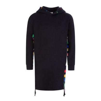 Black Oversized Hooded Fleece Dress