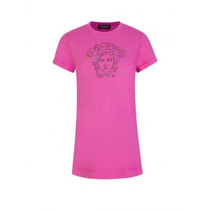 Pink Medusa Logo T-Shirt Dress