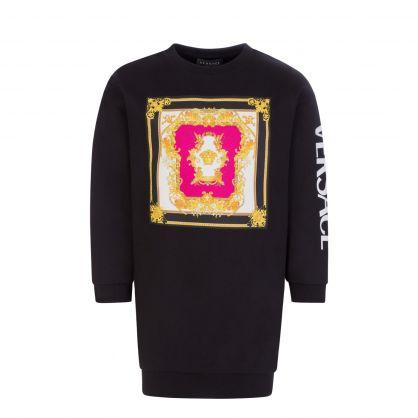 Black Junior Renaissance Medusa Print Sweatshirt Dress