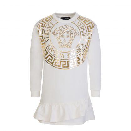 White/Gold Junior Medusa Ruffled Sweatshirt Dress