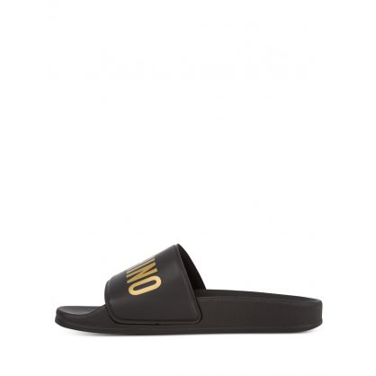 Kids Black/Gold Logo Sliders