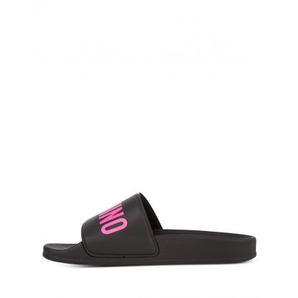 Kids Black/Pink Logo Sliders