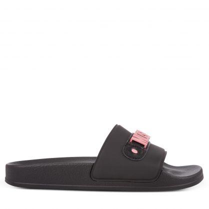 Black/Pink Logo Slides Footwear