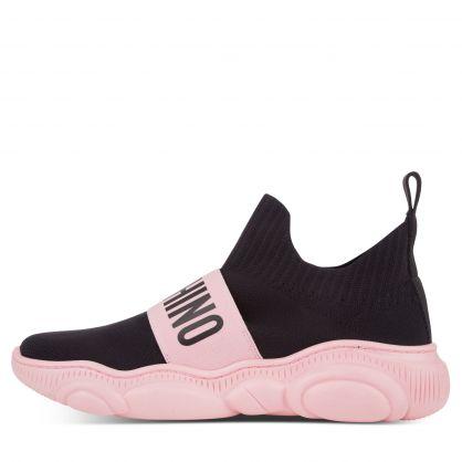 Black/Pink Logo Sock Trainers
