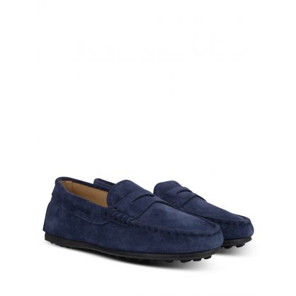 Junior Navy Gommino Suede Loafers