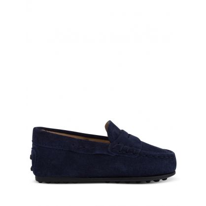 Junior Navy Suede Loafers
