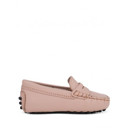 Junior Pink Leather Loafers