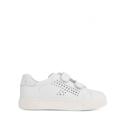 Junior White Low-Top Velcro Trainers