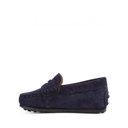 Junior Dark Navy Gommino Suede Loafers