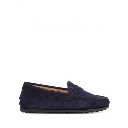 Junior Dark Navy Blue Gommino Suede Loafers