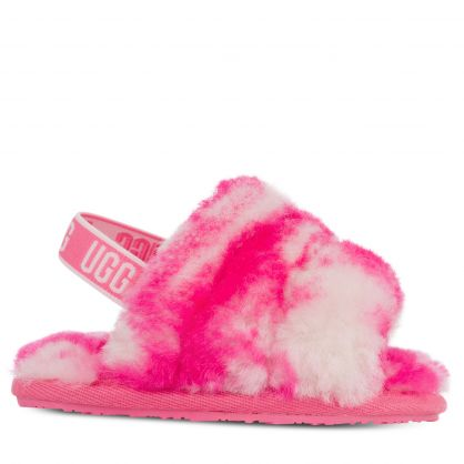 Kids Pink Marble Fluff Yeah Slides