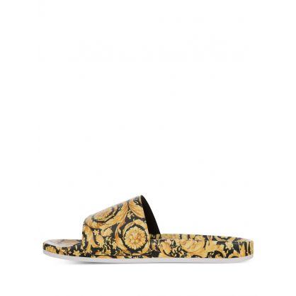 Black/Gold Barocco-Print Junior Logo Slides