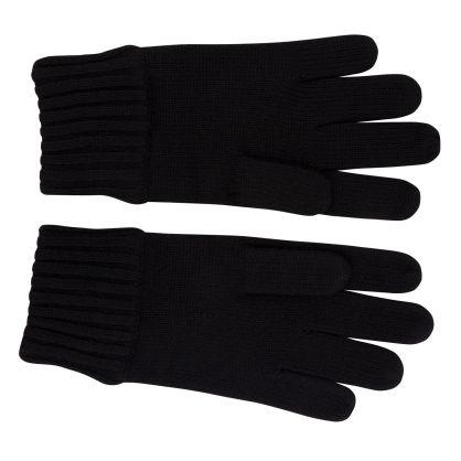 Kids Black Plain Wool Gloves