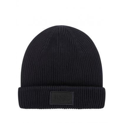 Black Essential Logo Beanie Hat