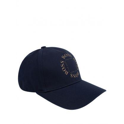 BOSS Kids Navy Triple Gold Logo Cap