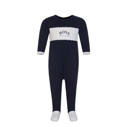 Navy Logo Babygrow & Hat Set