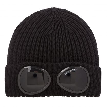 Black Goggle Knit Beanie Hat