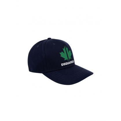 Kids Navy Maple Leaf Logo Cap