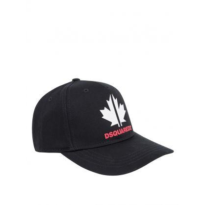 Kids Black Maple Leaf Cap