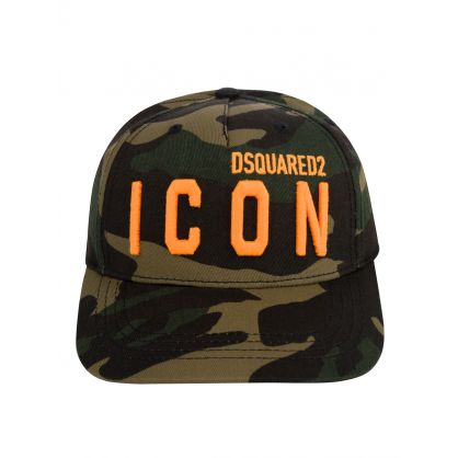 Kids Green Camo-Print ICON Logo Cap