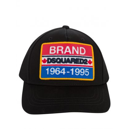 Kids Black Brand Plate Logo Cap