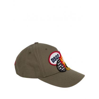 Kids Green Multi Badge Cap