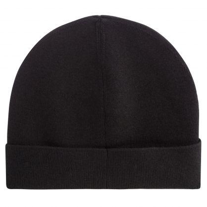 Kids Black Knitted Leaf Logo Beanie Hat