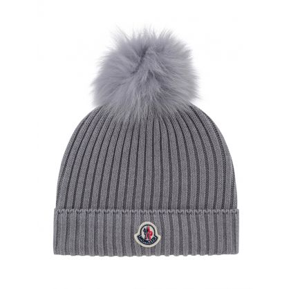 Grey Wool Bobble Hat