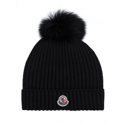 Black Pompom Bobble Hat